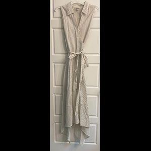 Linen blend wrap handkerchief dress